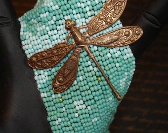 Cloudy With A Chance Of Dragonflies Beadwoven Cuff Bracelet