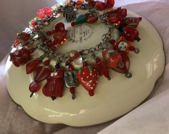 Red Charm Bracelet, Valentines, Faces, Hearts, strawberries