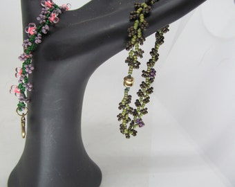 two bracelet bundle good beading friday sale, delicate, moss green and pink