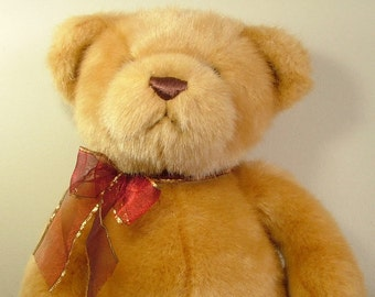 Vintage style Gund bear 14 inch high, beige golden teddy bear, soft toy UK seller