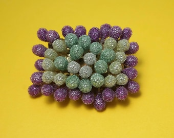 Vintage/ estate 1940s / 50s, ' make do and mend ' purple and mint florist, flower costume brooch/ pin - jewelry jewellery