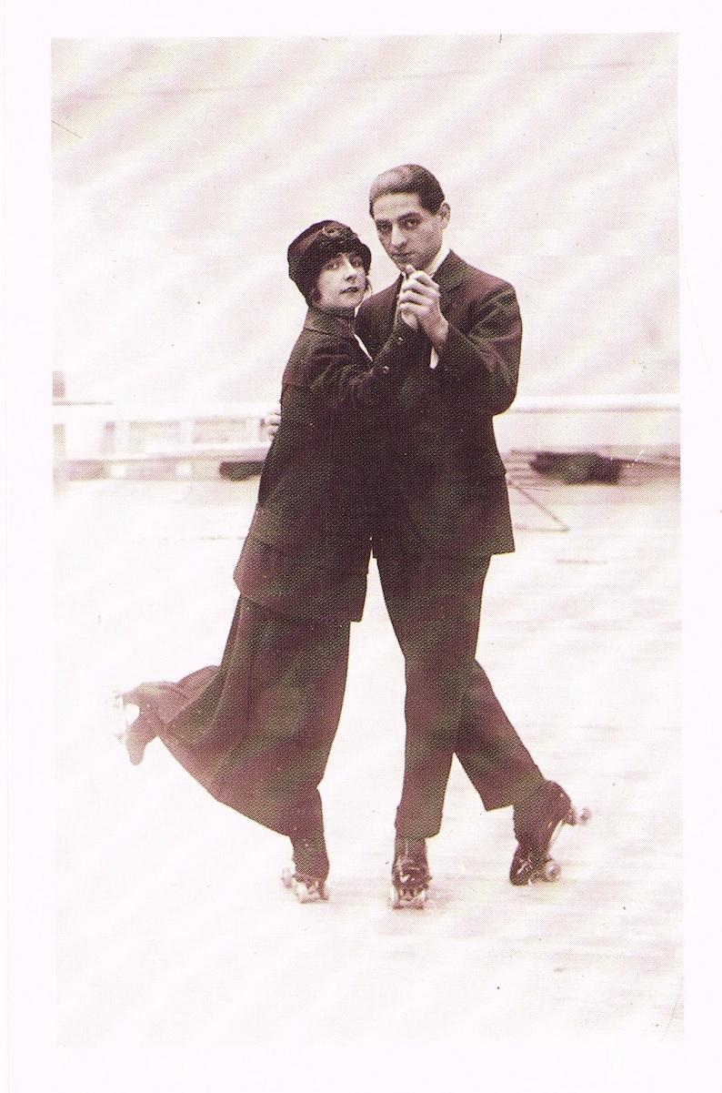 Vintage style reproduction unused Nostalgia sepia photo postacards Dancing the Tango on Skates 1913