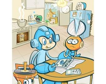 """Mega Man Illustration Poster Print 8.5"""" x 11"""""""