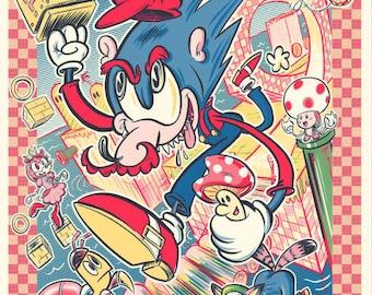 Super Sonic Bros - Mario Mashup Screen Print Poster