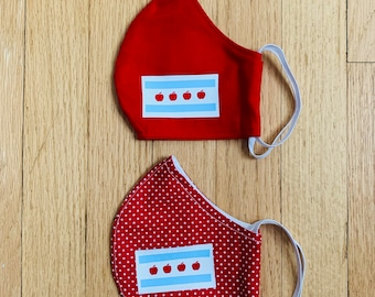 Chicago teachers... here is the teachers Chi flag fabric face mask 100% cotton light weight