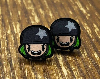Roller Derby Girl Acrylic Earrings