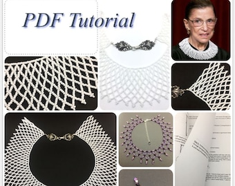 Beaded Lace Necklace Tutorial - PDF File with Graphic Illustration - Notorious RBG Collar How to - Ruth Bader Ginsburg Jabot Collar Tutorial