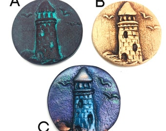 32mm Lighthouse Cabochon or Pendant charm - Polymer Clay - Jewelry, Beadembroidery, Scrapbooking, Hair barrette making