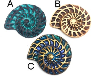 32mm Nautilus Cabochon, Pendant or for Stitch down - Polymer Clay - Jewelry, Beadembroidery, Scrapbooking, Hair barrette making