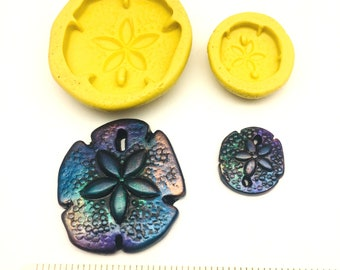 Silicone Sand Dollar Mold - Flexible Mold - available in 2 sizes - Ocean Theme - casting, polymer clay jewelry, soap making, candy, fondant