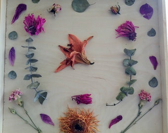 Lily.... Nature Mandala with dried flowers and eucalyptus in birch plywood