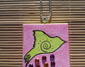 Taking flight- Small Painted Canvas Necklace