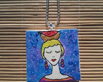 Imagine the dream Small Painted Canvas Necklace