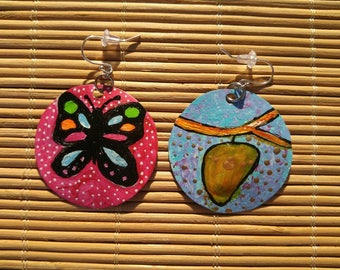 Transformation- butterfly and cocoon recycled bottle cap earrings
