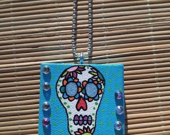 Sugar Skull Painted Canvas Necklace