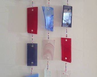Red, blue, purple, and pink Glass Wind Chime
