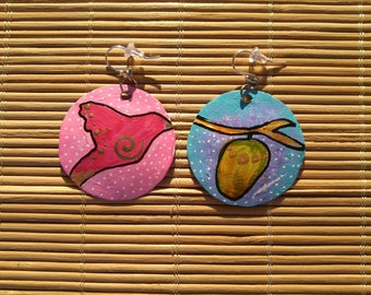 Grow and Be Free- bird and cocoon recycled bottle cap earrings