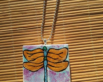 Dragonfly Small Painted Canvas Necklace