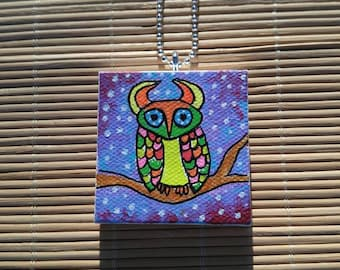 Owl Small Painted Canvas Necklace