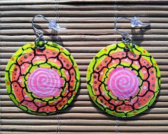 Flower mandala- yellow, orange, pink recycled bottle cap earrings