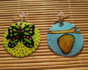 Transform- cocoon and butterfly recycled bottle cap earrings