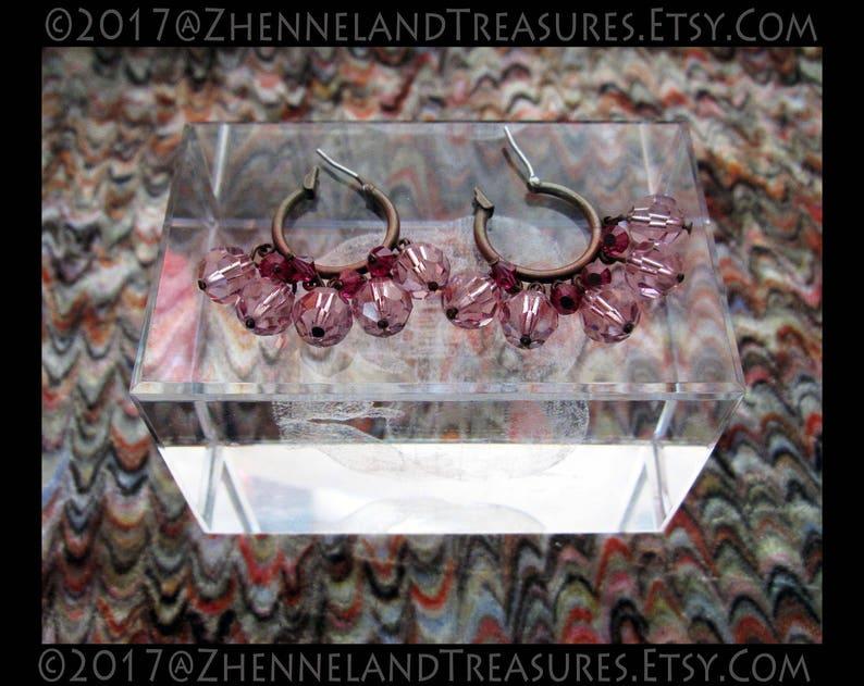 dd0be49b2 Vintage Liz Palacios Earrings Crystal Drop Hoop Brass   Etsy