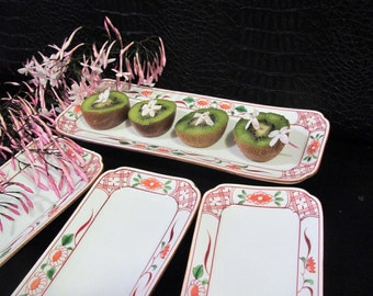 SET of 4 Oblong Serving Trays   Vintage Japanese Porcelain   Perfect for Sushi, Appetizers, Condiments, Snacks   Floral Motif, Asian Kitchen