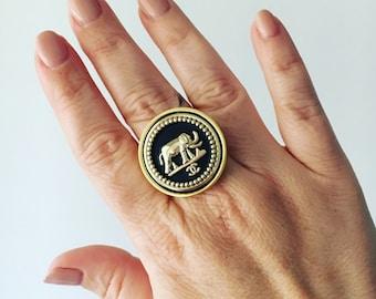 Designer Button Elephant Ring