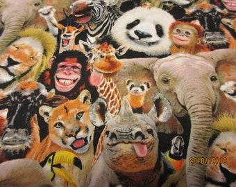 Animal Fabric Zoo Selfies Panda Elephant Lion Zebra Elizabeth Studio YARD