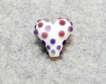 Purple marble Lampwork Jewellery making Earring pair UK handmade. Ideal for Birthday pendant Murano glass heart bead