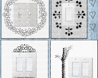 Instant Download SVG Light Switch Cover Accents Commercial Use digital cut files, use 631 vinyl for decals, Cricut Cricut MakerSilhouette