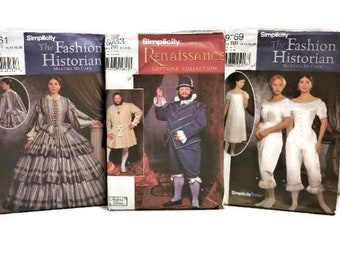 Simplicity 1800's Fashion Historian Dress & Renaissance King Costumes   Simplicity Woman's Dress 9761   Simplicity Man's Doublet and Pants