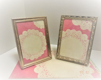 Vintage Embossed Metal Photo Frame    Five by Seven Standing Metal Picture Frame