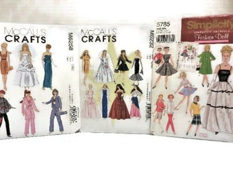 Barbie Doll Clothing Pattern   Fashion Doll Wardrobe Pattern Choose One    NIP Unused Doll Clothes Sewing Pattern Your Choice