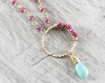 Ruby and Turquoise Necklace, Pink Ruby Necklace, Gold Ruby Necklace, Gold Turquoise Necklace, Turquoise Gemstone Necklace, Wire Wrap Pendant