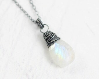 Rainbow Moonstone Necklace, Black Oxidized Necklace, Gemstone Teardrop Necklace, White Moonstone Necklace, Sterling Silver Pendant Necklace