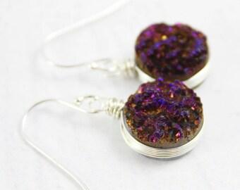 Silver Druzy Earrings, Druzy Geode Earrings, Dark Purple Earrings, Wire Wrap Earrings, Purple Drop Earrings, Sterling Silver Earrings
