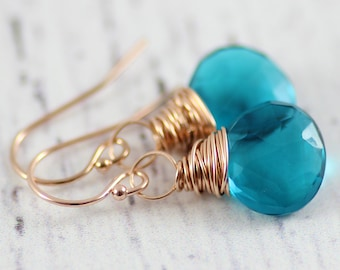 Teal Blue Earrings, Rose Gold Earrings, Bridesmaid Jewelry Gift, Gift for Her, Gemstone Dangle Earrings, Wire Wrap Earrings, Quartz Stone