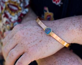 Gemstone Cuff Bracelet, Bohemian Cuff Bracelet, Druzy Stone Bracelet, Rainbow Bangle Bracelet, Copper Metal Bracelet, Druzy Gold Bracelet