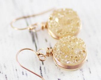 Rose Gold Earrings, Peach Druzy Earrings, Bridesmaid Dangle Earrings, Wire Wrap Earrings, Drusy Geode Earrings, Circle Drop Earrings