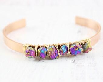 Pyrite Cuff Bracelet – Gemstone Bangle Bracelet – Copper Cuff Bracelet - Gold Wire Wrapped Cuff – Rainbow Gemstone Bracelet – Rainbow Pyrite