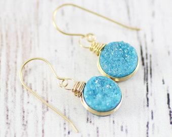 Druzy Earrings, Blue Topaz Earrings, Druzy, Earrings, Blue Earrings, Blue Topaz, Blue Druzy Earrings, Earring, Blue Earring, Druzy Earring