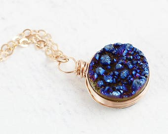 Rose Gold Druzy Necklace, Druzy Gemstone Necklace, Dark Blue Druzy Necklace, Druzy Geode Necklace, Rose Gold Pendant Necklace, Wire Wrapped