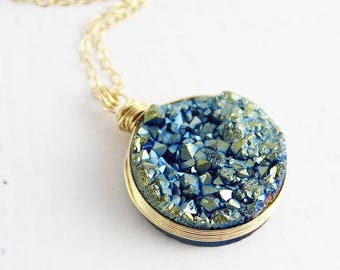 Druzy Pendant Necklace, Gold Druzy Necklace, Wire Wrap Necklace, Gold Filled, Blue Green Drusy Necklace, Dark Blue Gemstone Necklace