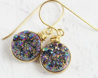 Druzy Gold Earrings, Drusy Quartz Earrings, Rainbow Druzy Earrings, Gold Filled Earrings, Small Circle Drop Earrings, Wire Wrap Earrings