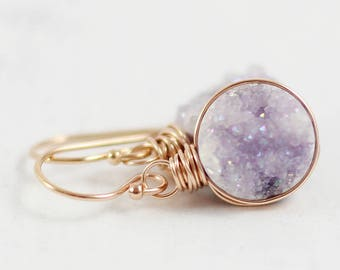Light Violet Earrings, Druzy Geode Earrings, Drusy Quartz Earrings, Purple Earrings, Rose Gold Earrings, Wire Wrapped, Bridesmaid Jewelry