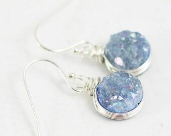 Steel Blue Earrings, Druzy Geode Earrings, Druzy Gemstone Earrings, Blue Druzy Earrings, Sterling Silver Earrings, Bridesmaid Jewelry
