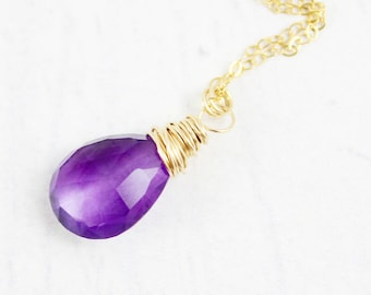 Amethyst Gemstone Necklace, Gold Fill Necklace, Pendant Necklace, Dark Purple Necklace, Wire Wrap Necklace, February Birthstone Necklace