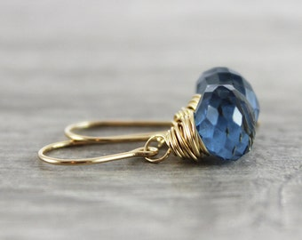 London Blue Earrings, Quartz Gemstone Earrings, Dark Blue Earrings, Wire Wrap Earrings, Small Earrings, Navy Blue Earrings, Gold Earrings