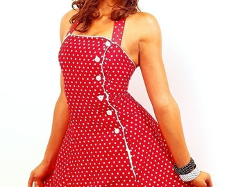 Red White polka dot 50s pin-up house wife button cocktail dress